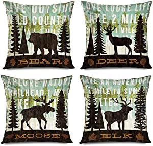 FAREYY Decorative Set of 4 Throw Pillow Covers 18x18 Inch Vintage Wood Wildlife Deer Pine Tree Forest Bear Moose Elk Pillowcases Home Decor Cushion Cases