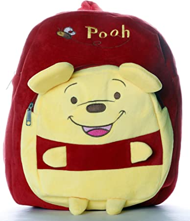 HC Toys LLP Plush Canvas Material Stuffed Printed Winnie The Pooh Soft Toys School Bag for Kids Boys and Girls Backpack (2-5 Years)