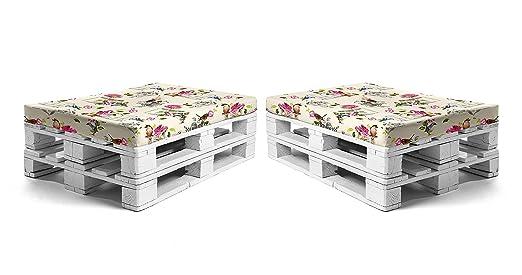 SUENOSZZZ - Pack 2 colchonetas para Sofas de Palet. Cojin Relleno con Espuma. Loneta HP Sena | Cojines para Chill out, Interior y Exterior, Jardin | ...