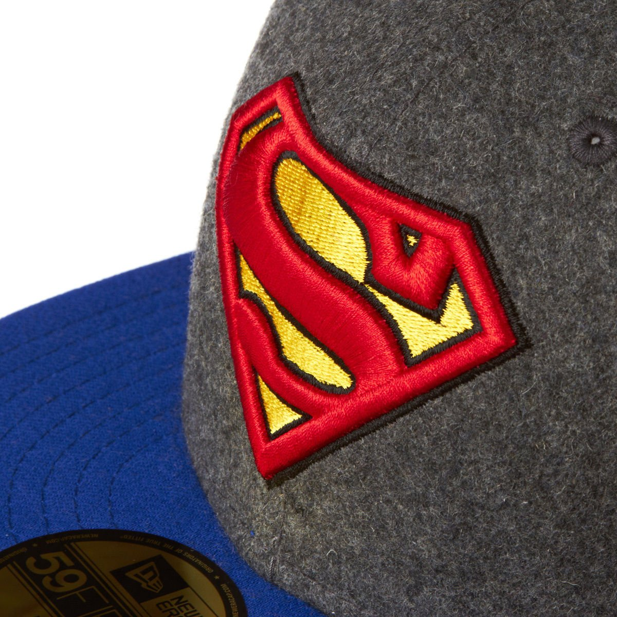 New Era Hero Melton Superman 59fifty Fitted Cap Charcoal