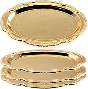 Maro Megastore (Pack of 4) 9.4 Inch x 6.4 Inch Oval Iron Gold Plated Mirror Serving Tray Floral Edge Decorative Party Birthday Wedding Dessert Buffet Wine Candle Decor Food Art Platter Plate CC-689