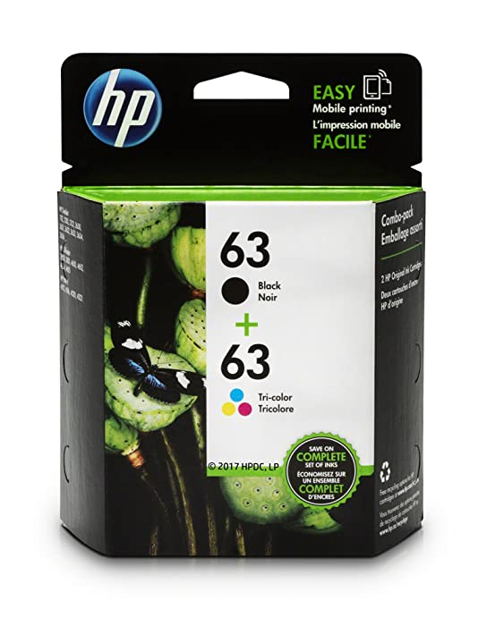 HP 63 Black & Tri-color Ink Cartridges, 2 Cartridges (F6U61AN, F6U62AN) for HP Deskjet 1112 2130 2132 3630 3632 3633 3634 3636 3637 HP ENVY 4512 4513 4520 4523 4524 HP Officejet 3830 3831 3833 4650