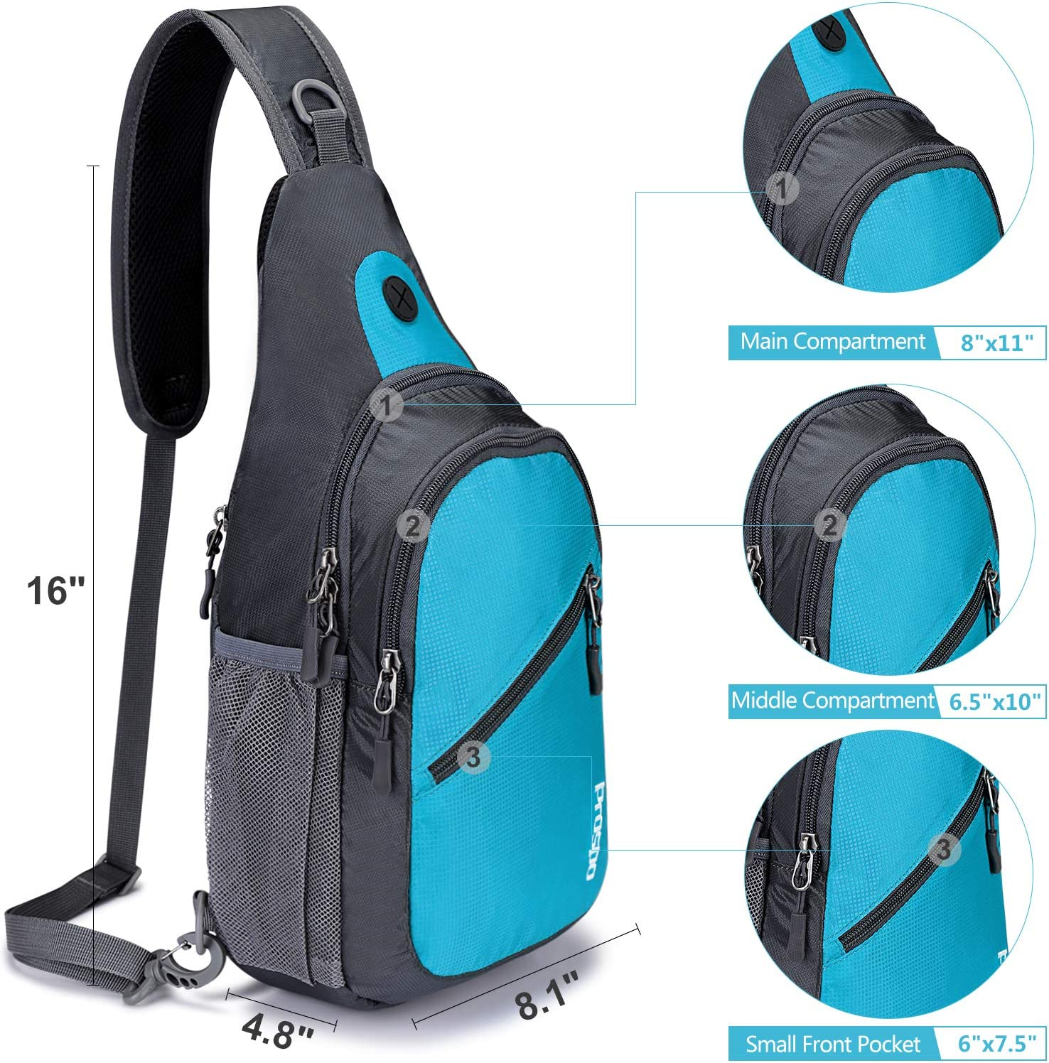 G4Free Prospo Sling Backpack Multipurpose Shoulder Chest Bag Daypack Cycling Hiking