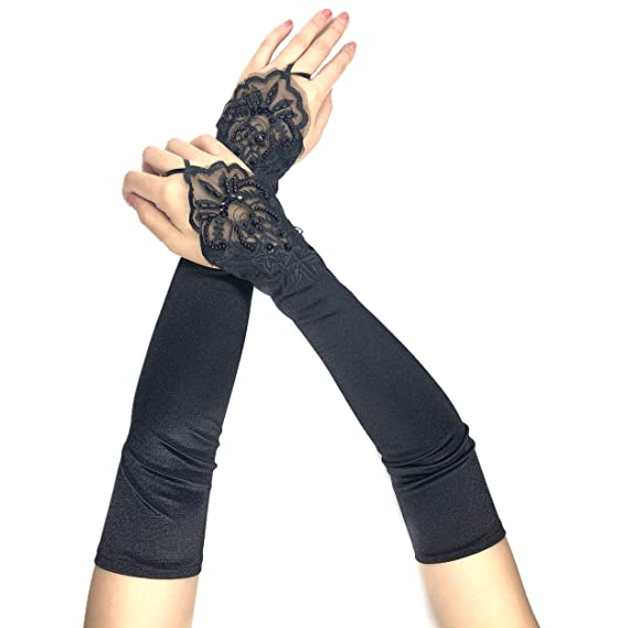 56c505e661dbda PANAX Schicke Extra Lange Damen Handschuhe aus elastischem Satin in Schwarz  - Stulpen in Einheitsgröße für