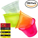Da Bomb Cups 150 Pack Disposable Jager Bomb Cups. Measure Two Part Bomber Shot Glasses for Great Taste Every Time! Throw a Great Party with Recipe Card & 4 Colors to Impress Guests!