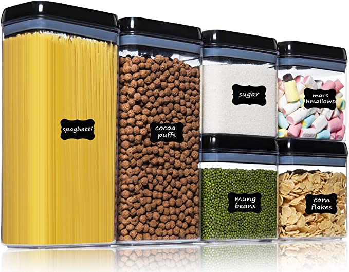Amazon.com: Food Storage Containers with Lids Airtight - PantryStar 6PCS PBA Free Clear Plastic Canisters Sets for Flour, Sugar, Cereal - Kitchen Pantry Organization Storage Containers - Include 24 Labels: Kitchen & Dining