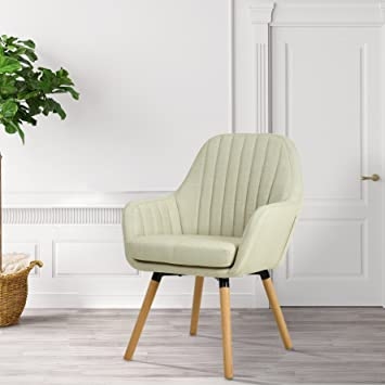 LSSBOUGHT Contemporary Indoor Muted Fabric Arm Chair, Accent Chair With  Solid Wood Frame Legs (