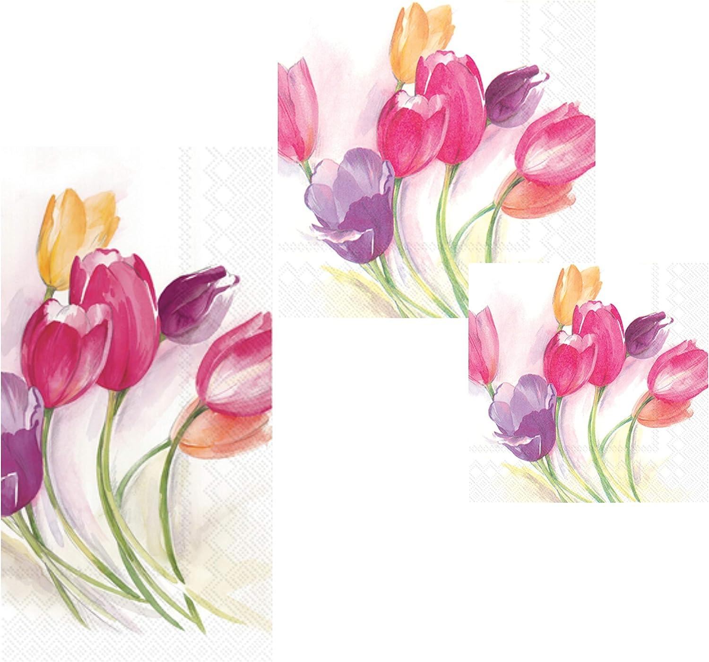 Floral Tulip Themed Napkins Set - Bundle Includes Guest Napkins/Towels, Lunch Napkins, and Beverage Napkins in Tulips Season Design by Ideal Home Range