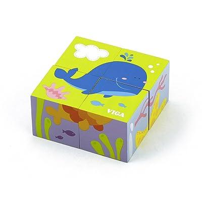 Superb Choice 4 pcs 6-Side Cube Puzzle - sea: Toys & Games