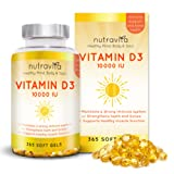 Vitamin D3 10,000 IU 365 Softgels 1 Year Supply by Nutravita