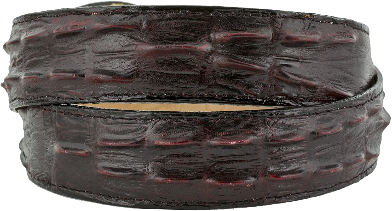 Cowboy Professional Mens Burgundy Crocodile Tail Leather Western Belt Round Buckle 38