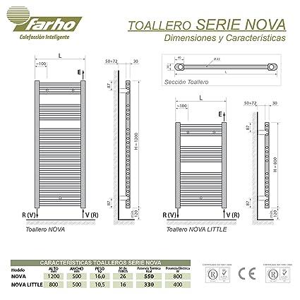 farho - Radiador Toallero Eléctrico Cromado Nova, con 800W (Medidas : 800 x 500 mm) Toalleros Eléctricos Digital Programable - 20 AÑOS DE Garantia: ...
