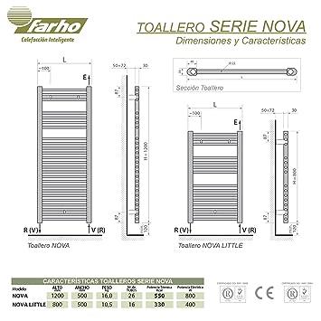 farho - Toallero Eléctrico bajo Consumo Nova Cromado Radiador Toallero Eléctrico 800 W Digital Programable - (Medidas 1200 x 500 mm) - 20 AÑOS DE Garantia: ...