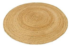 Alfombra circular de yute de 120cm x 120cm, estilo rústico trenzado para todo tipo de habitación