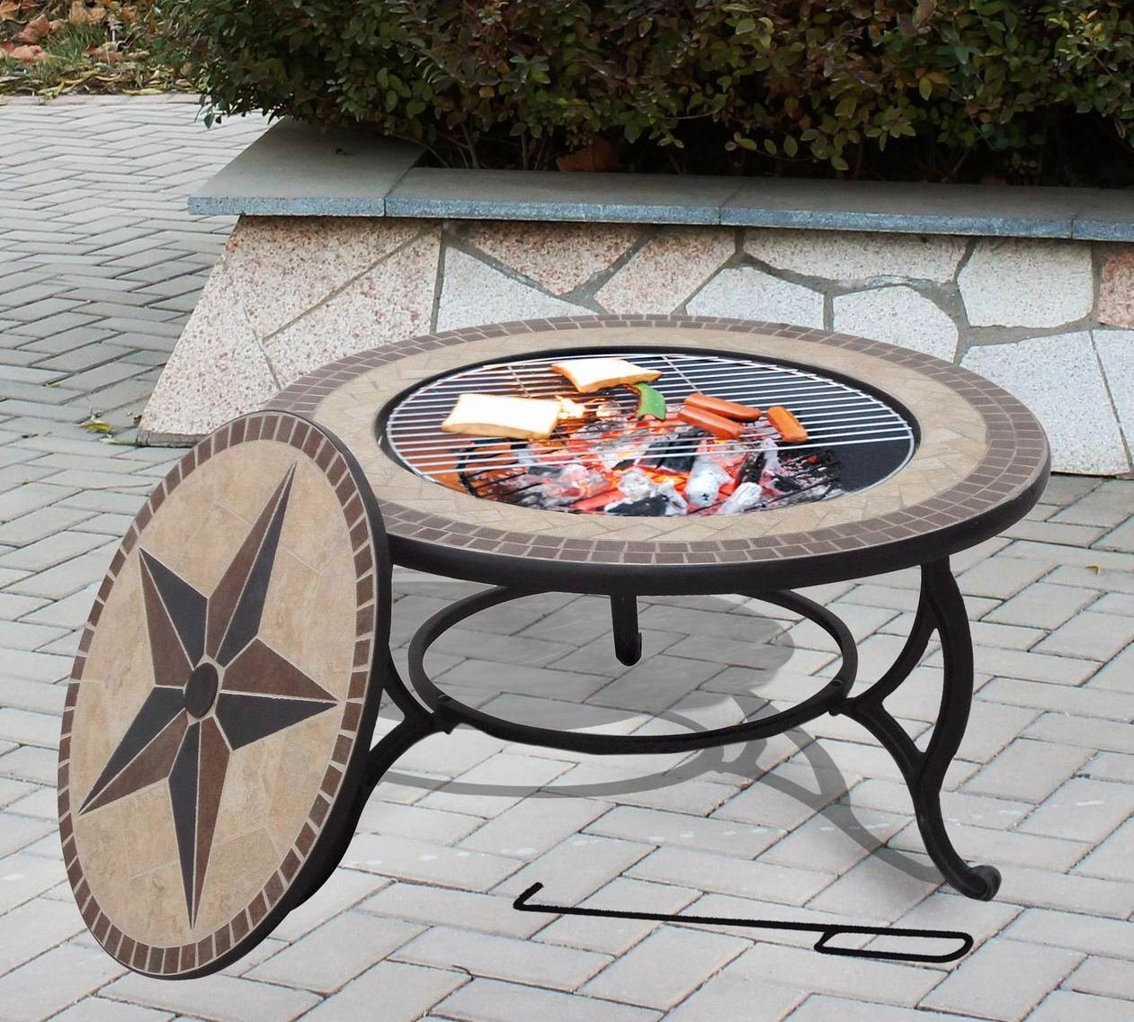 SALTILLO Beautiful Garden BBQ Fire Pit Mosaic Table Fire Bowl