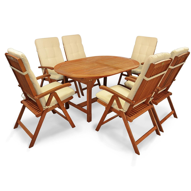 indoba® IND-70310-SSSE7 + IND-70403-AUHL - Serie Sun Shine - Gartenmöbel Set 13-teilig aus Holz FSC zertifiziert - 6 klappbare Gartenstühle + 1 ausziehbarer Gartentisch + 6 Relax Sitzauflagen natur