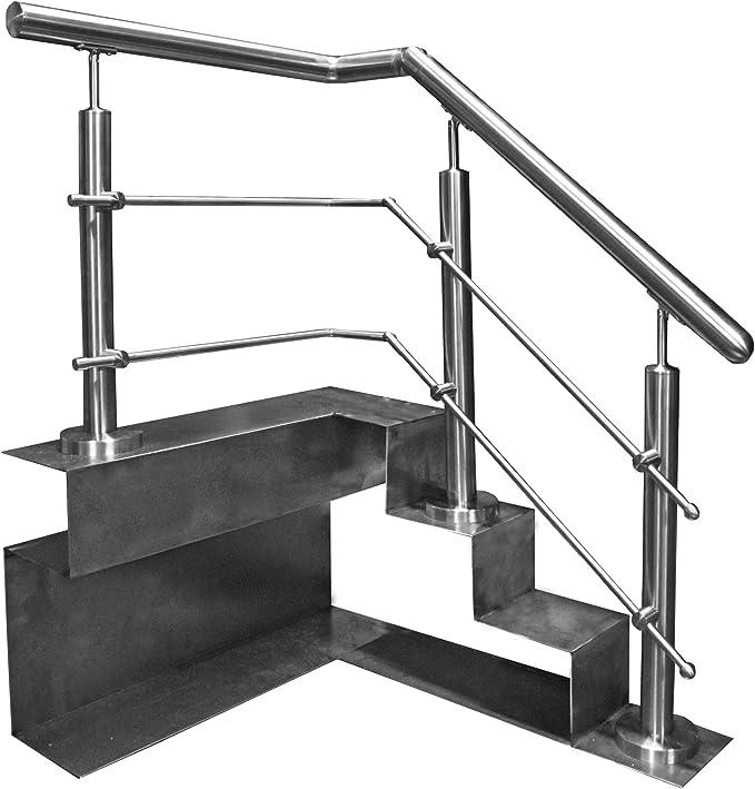 Acero inoxidable barandillas de acero inoxidable pasamanos de barandillas para escaleras de parapeto para balcón con Tab barra transversal: Amazon.es: Bricolaje y herramientas