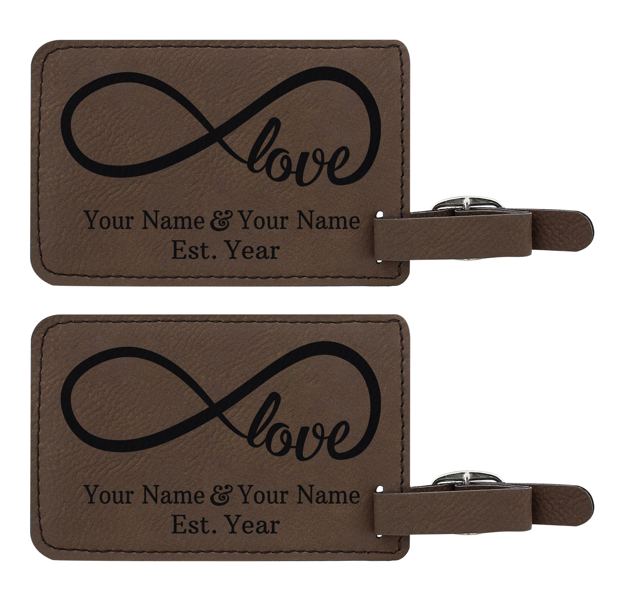 Personalized Couples Gifts Custom Names & Date Infinite Love Personalized Engagement Gifts for Honeymoon 2-pack Laser Engraved Leather Luggage Tags Brown
