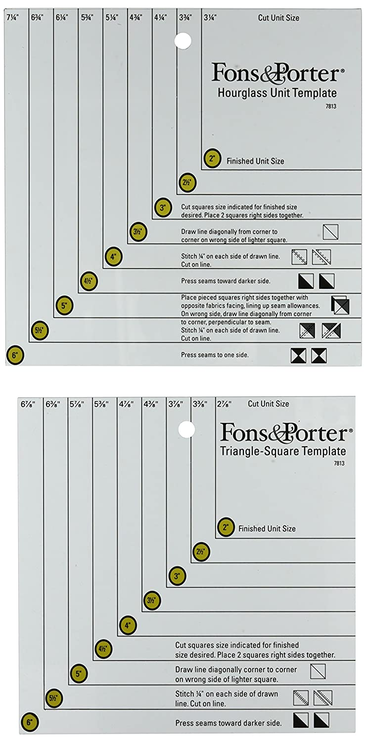Dritz Fons and Porter Triangle Square and Hourglass Template 7813