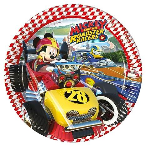8 platos * Mickey Roadster * DE Disney para fiestas de cumpleaños infantil o temática/
