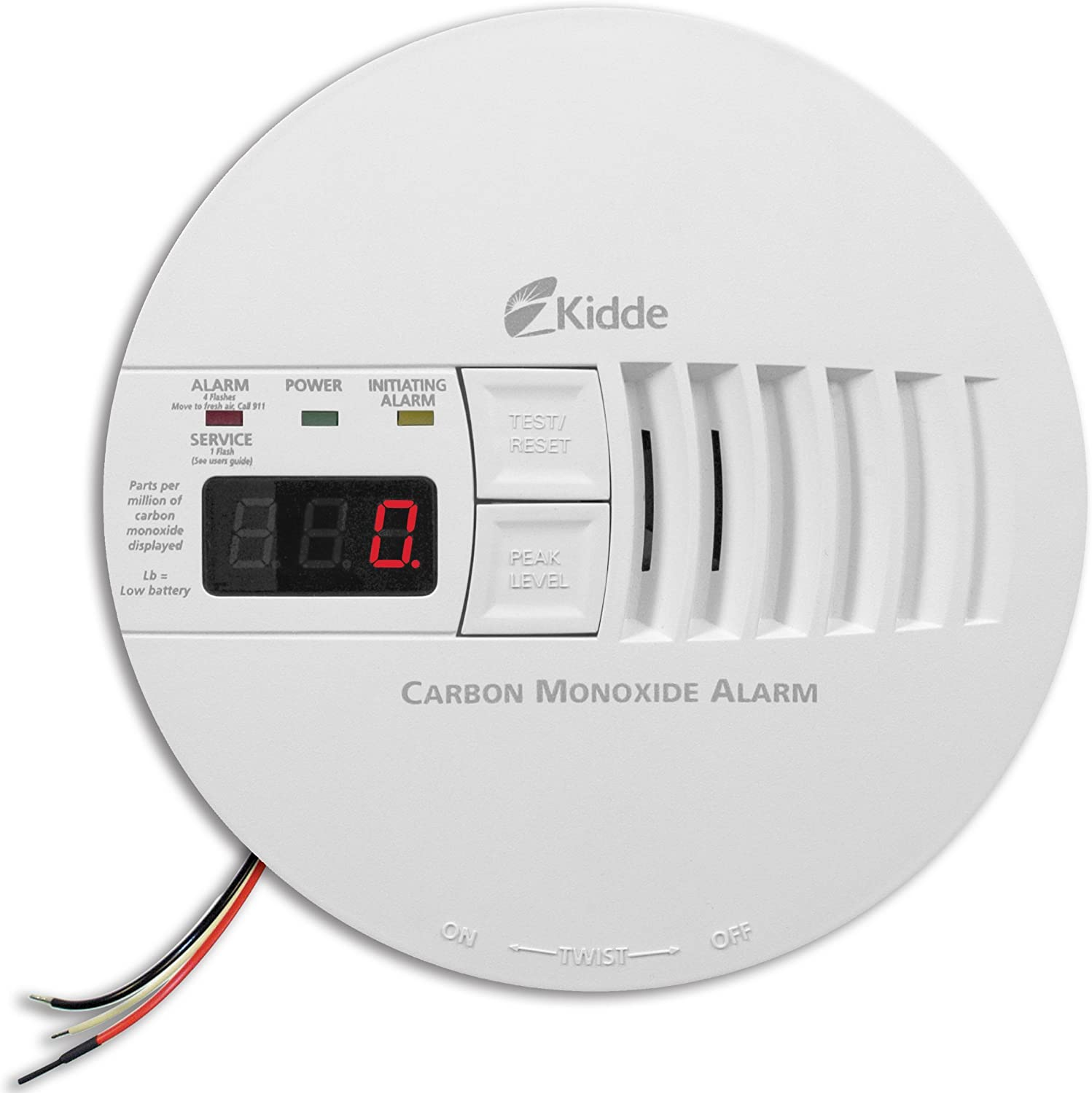 Kidde AC Hardwired Operated Carbon Monoxide Detector Alarm with Digital Display Model KN-COP-IC