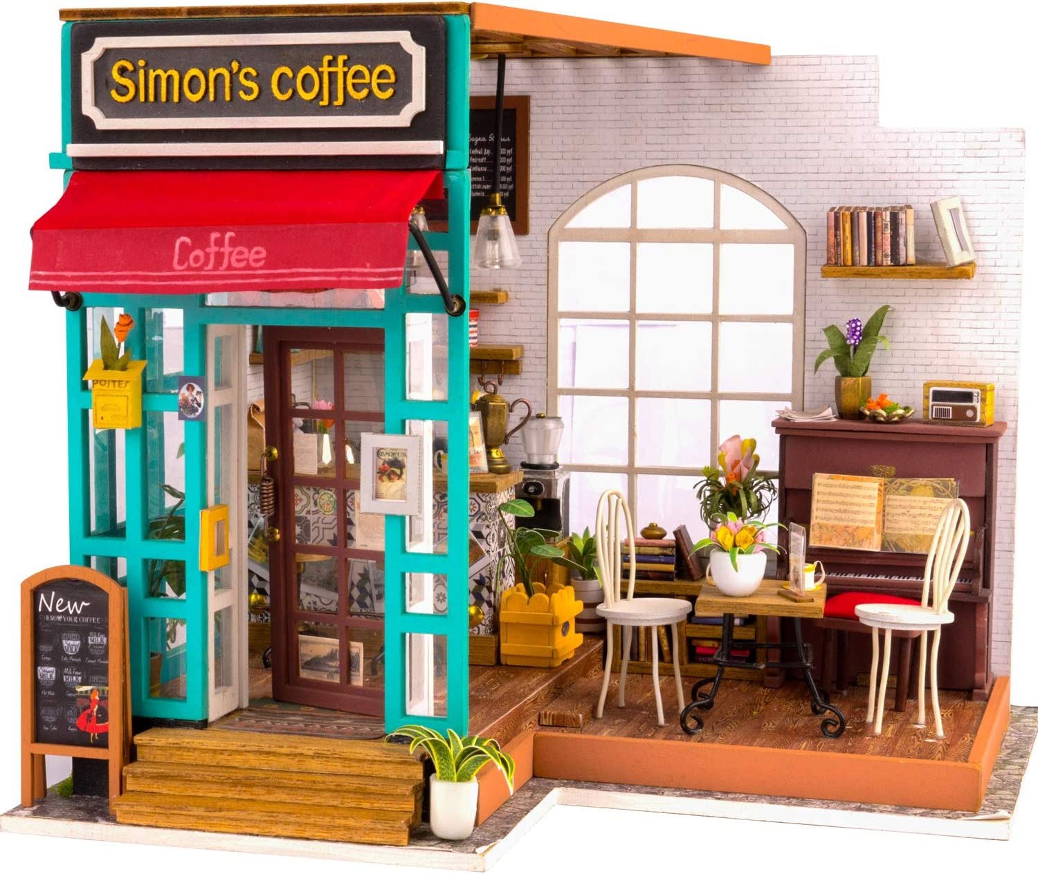 Rolife DIY Dollhouse Miniatures Craft Kits for Adults (Simon's Coffee)