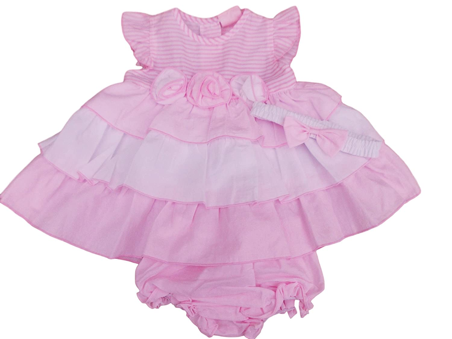 3159cce82b82 BNWT Baby Girls Summer Pink   White Frilly Dress   Hairband with Rose 6  Sizes (6-9 Months)  Amazon.co.uk  Clothing