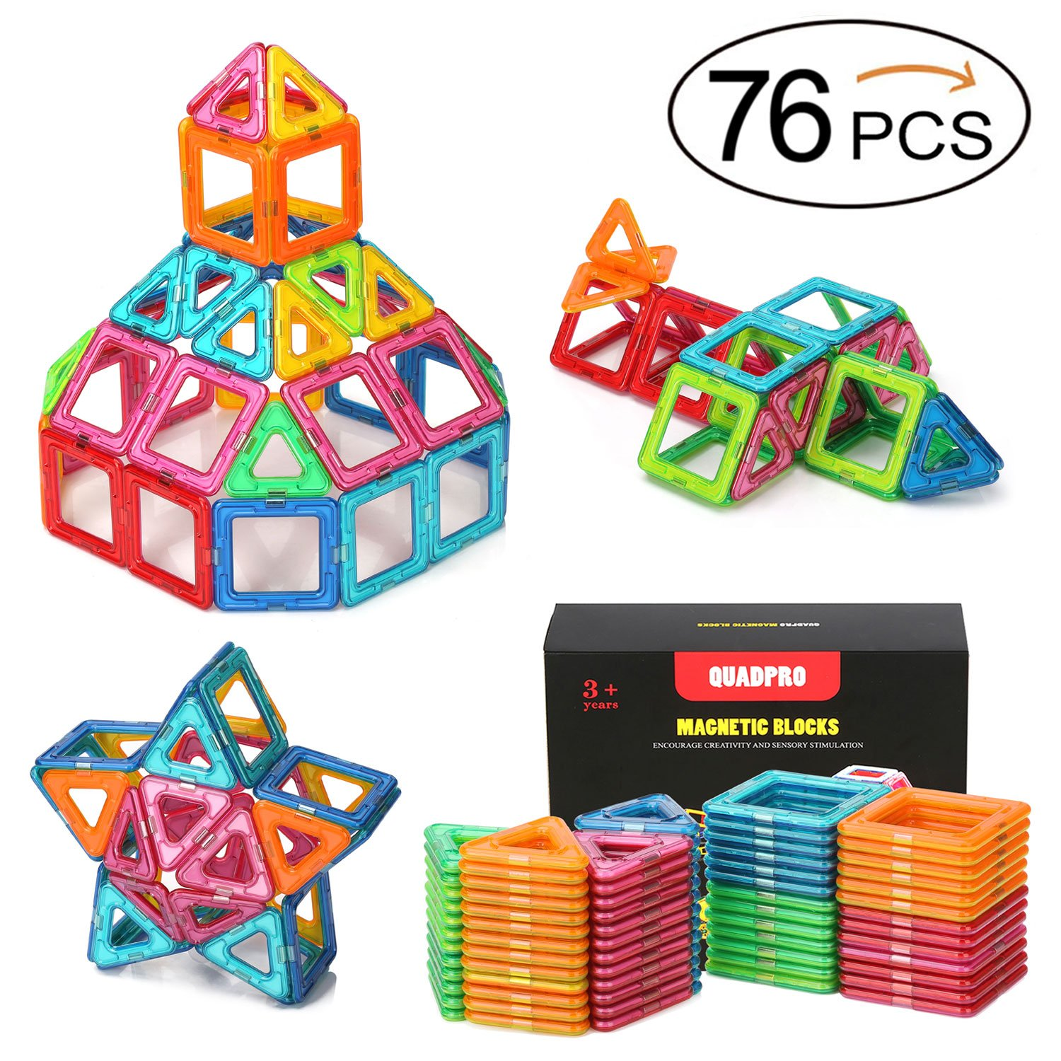 Quadpro 76 Piece Magnetic Blocks Building Toys For Boys Girls, Magnet Tiles Kits For Kids Review