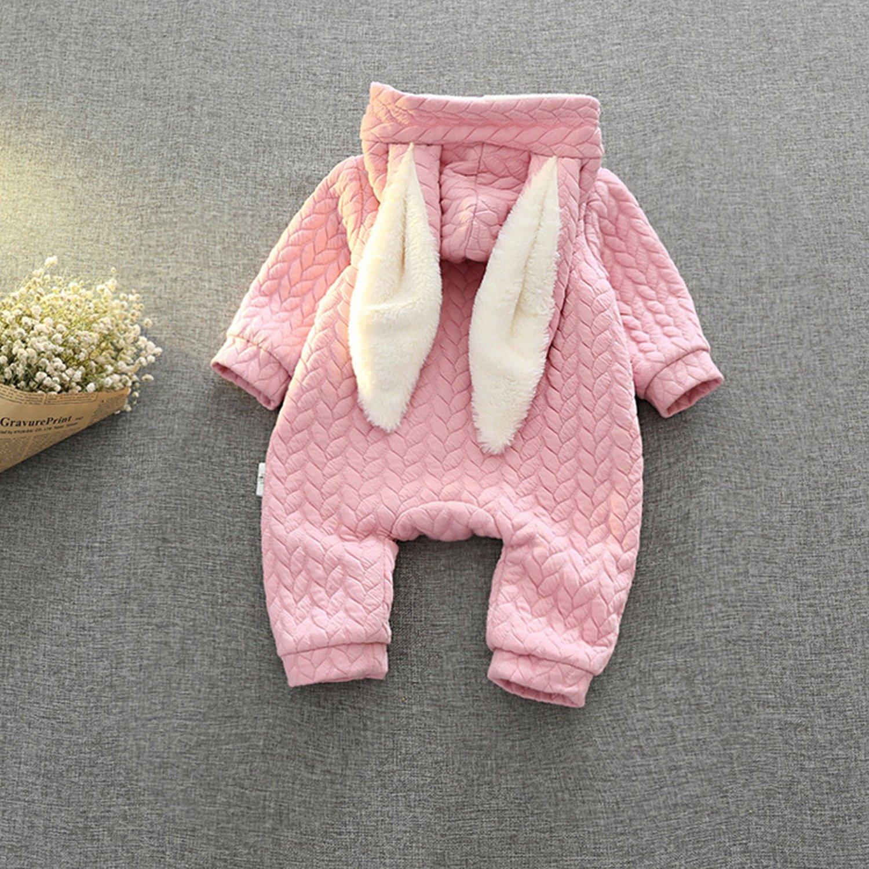 CHIC-CHIC Baby Overall mit Ohren Kaninchen Jumpsuit Baby Langarm Warm Strampler Schneeanzug mit Rei/ßverschluss