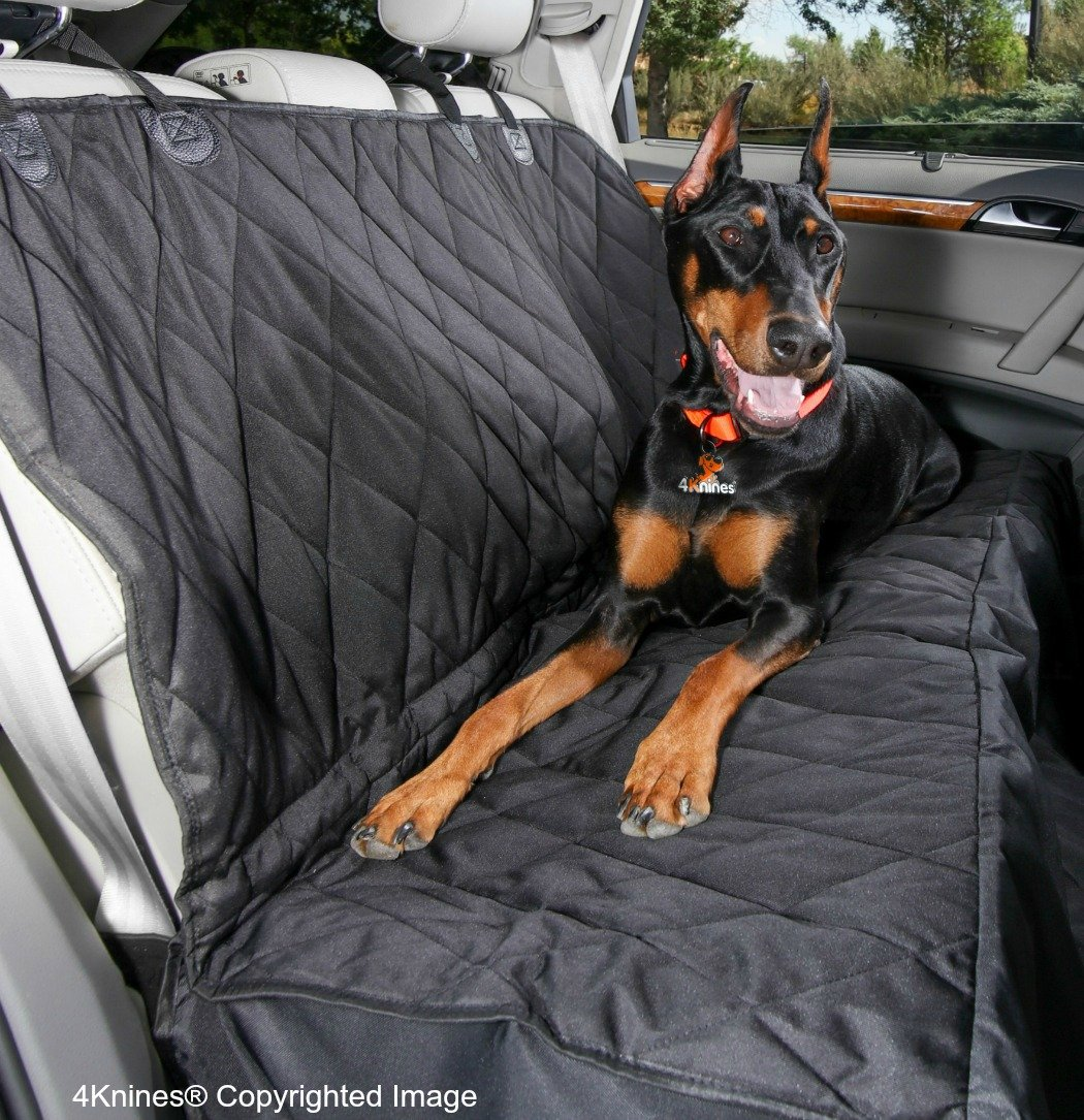 4Knines Dog Seat Cover with Hammock for Cars, Small Trucks, and SUVs - Heavy Duty, Non Slip, Waterproof -Black Regular - USA Based Company by 4Knines