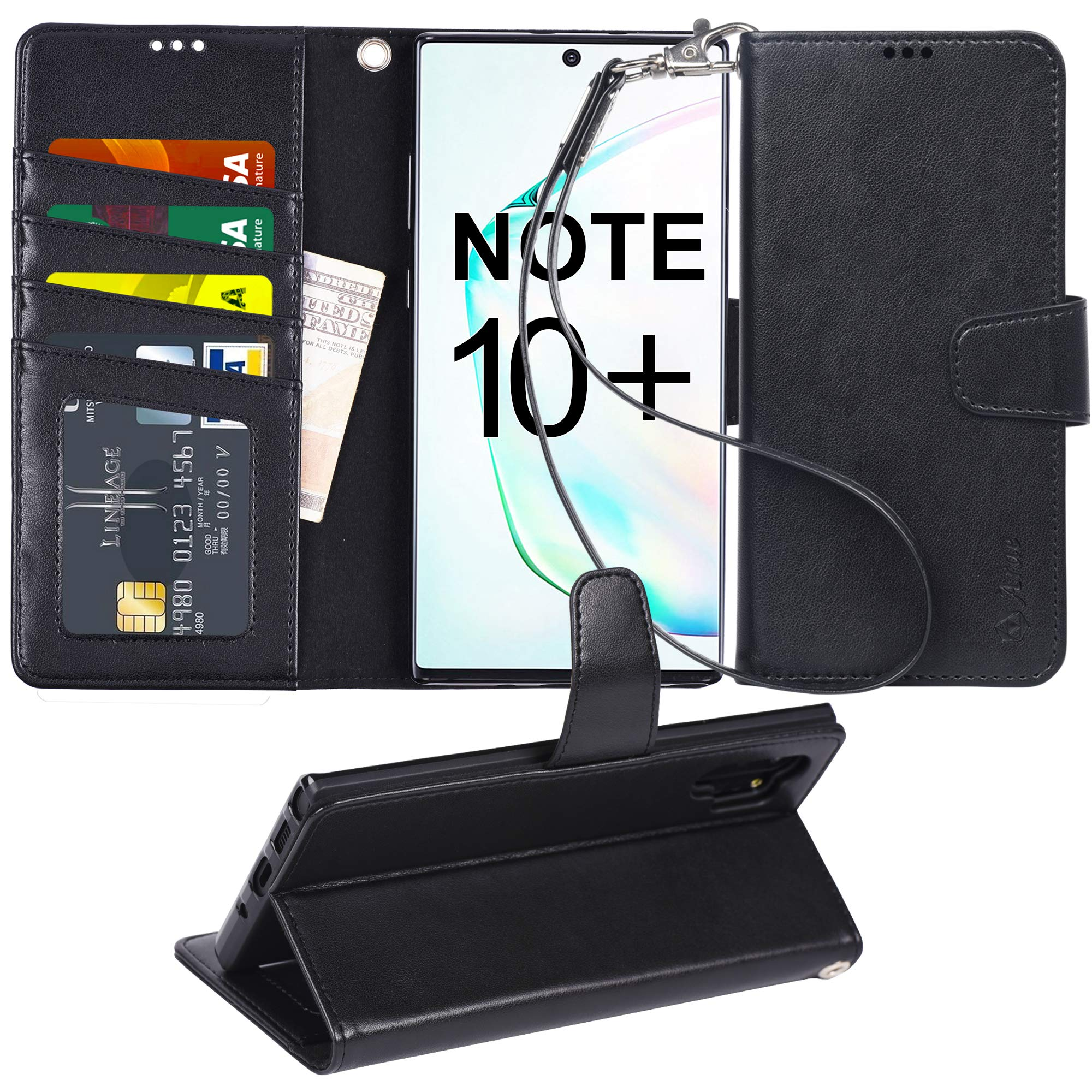Arae Wallet Case for Samsung Galaxy Note 10 Plus/Note 10 Plus 5G PU Leather flip Cover [Stand Feature] with ID&Credit Cards Pocket for Galaxy Note 10+ / Note 10+ 5G 6.8 inch, Black by Arae