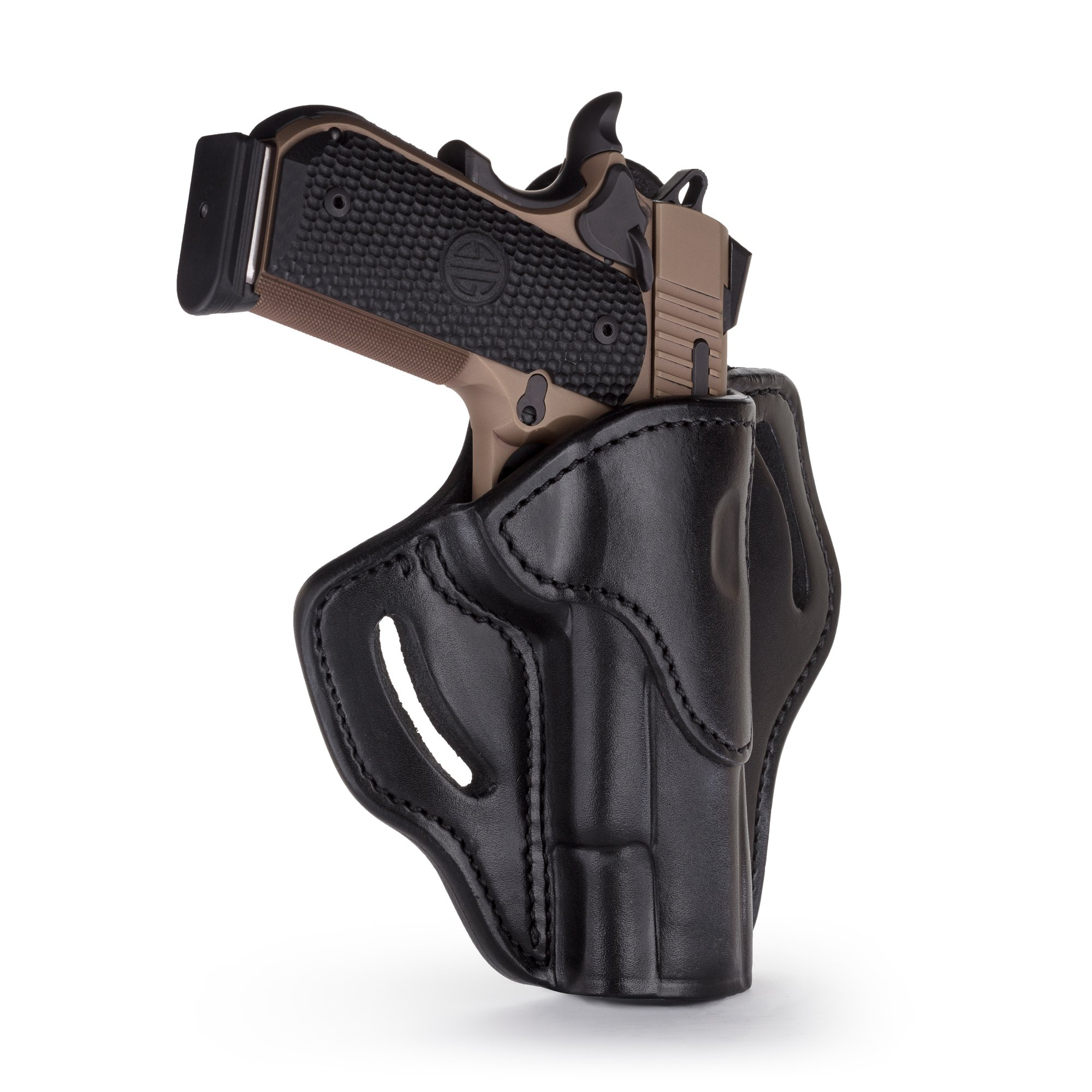1791 GUNLEATHER 1911 Holster, Right Hand OWB Leather Gun Holster for Belts fits All 1911 Models with 4'' and 5'' Barrels (Shiny Black) by 1791 GUNLEATHER