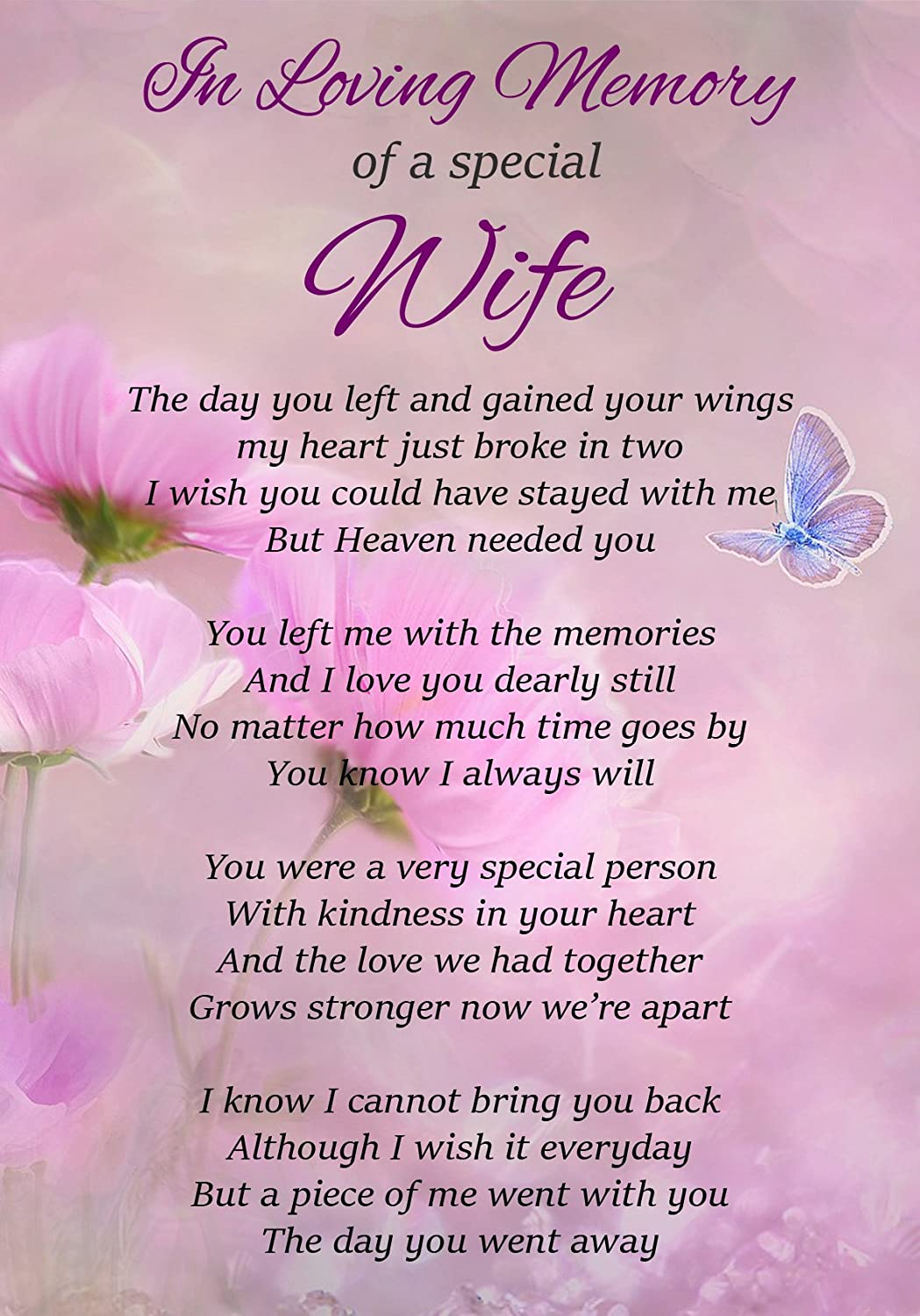 In Loving Memory Of A Special Wife Memorial Graveside Funeral Poem Keepsake  Card Includes Free Ground Stake F300
