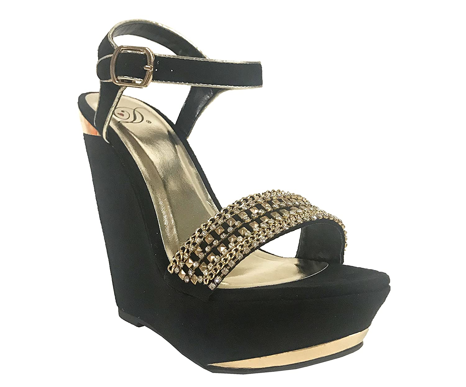 Delicious FIFI! Women's Gold Chain Diamond Embellished Ankle Strap Platform Wedge Sandals B016NGZNMO 6.5 B(M) US Black Faux Suede