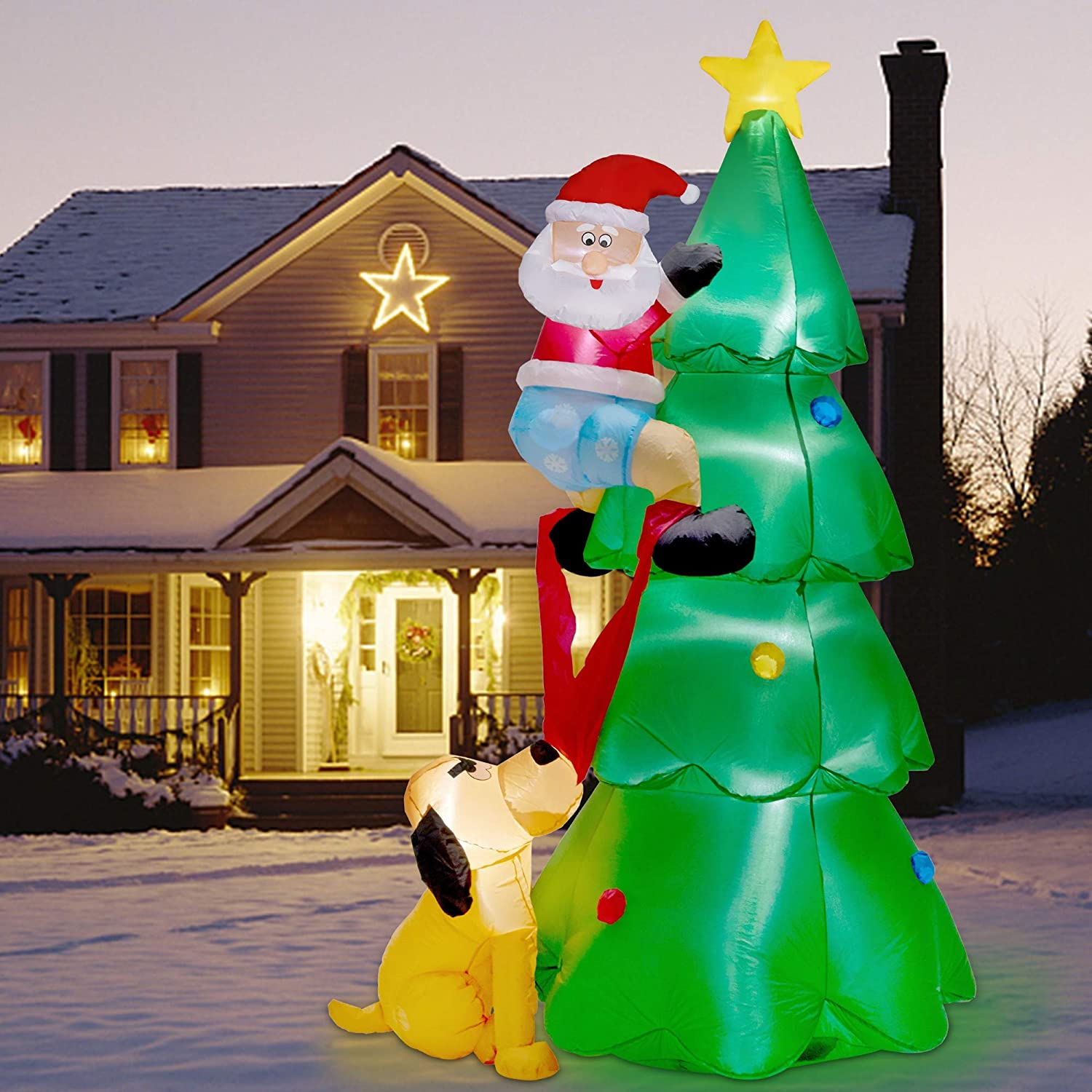 Twinkle Star 7FT Inflatables Lighted Christmas Tree with Santa Claus and Dog, Blow Up Cute Indoor Outdoor Xmas Decor Lawn Yard Garden Decorations