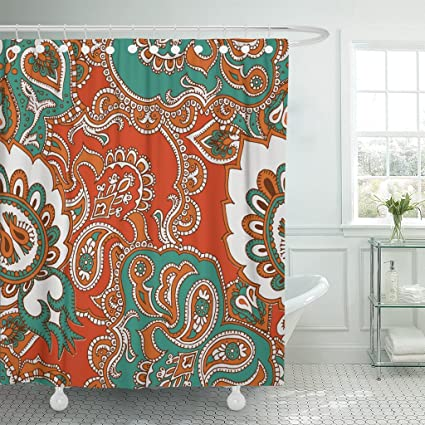 Amazon Emvency Fabric Shower Curtain Curtains With Hooks Green
