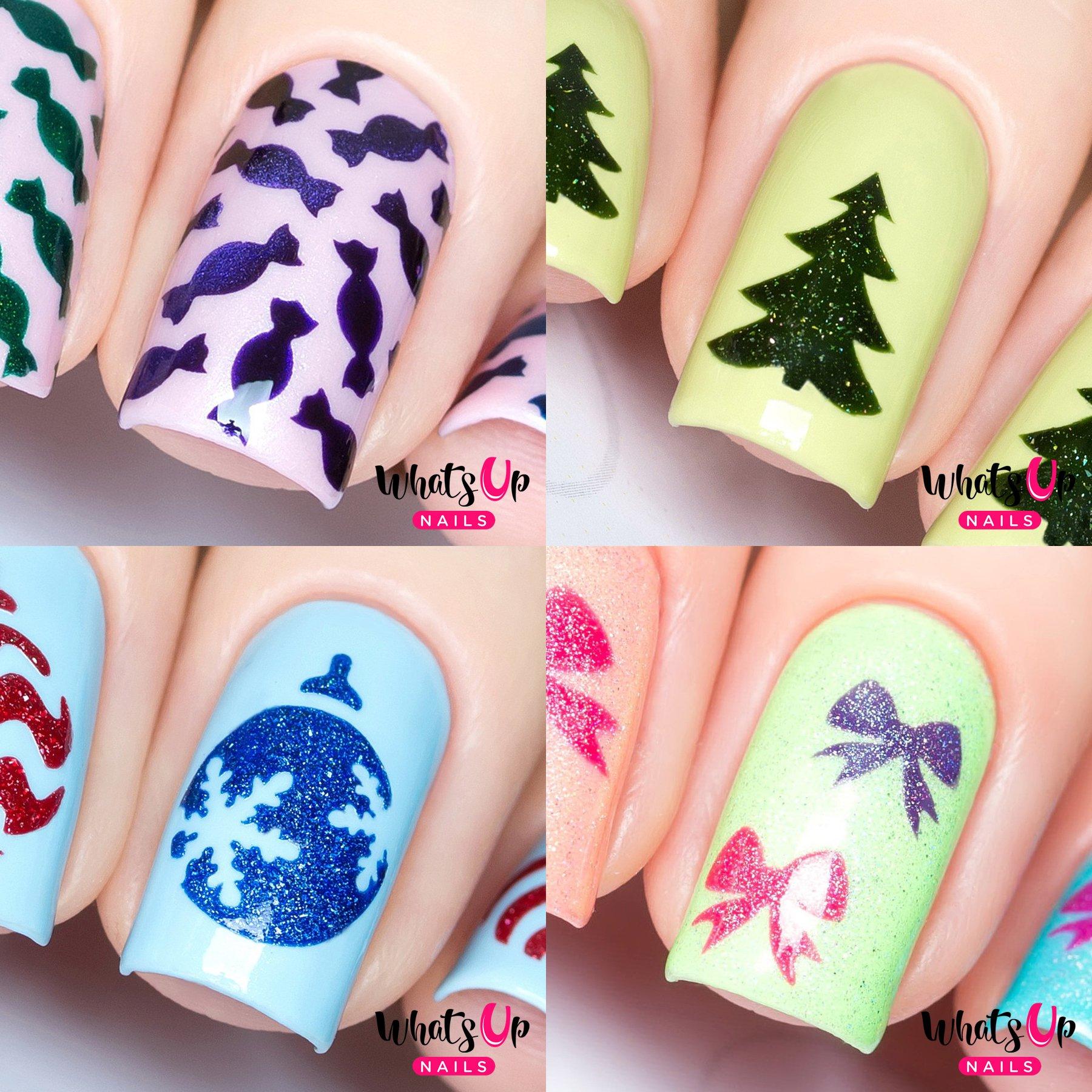 Amazon Com Whats Up Nails Christmas Nail Vinyl Stencils 4 Pack