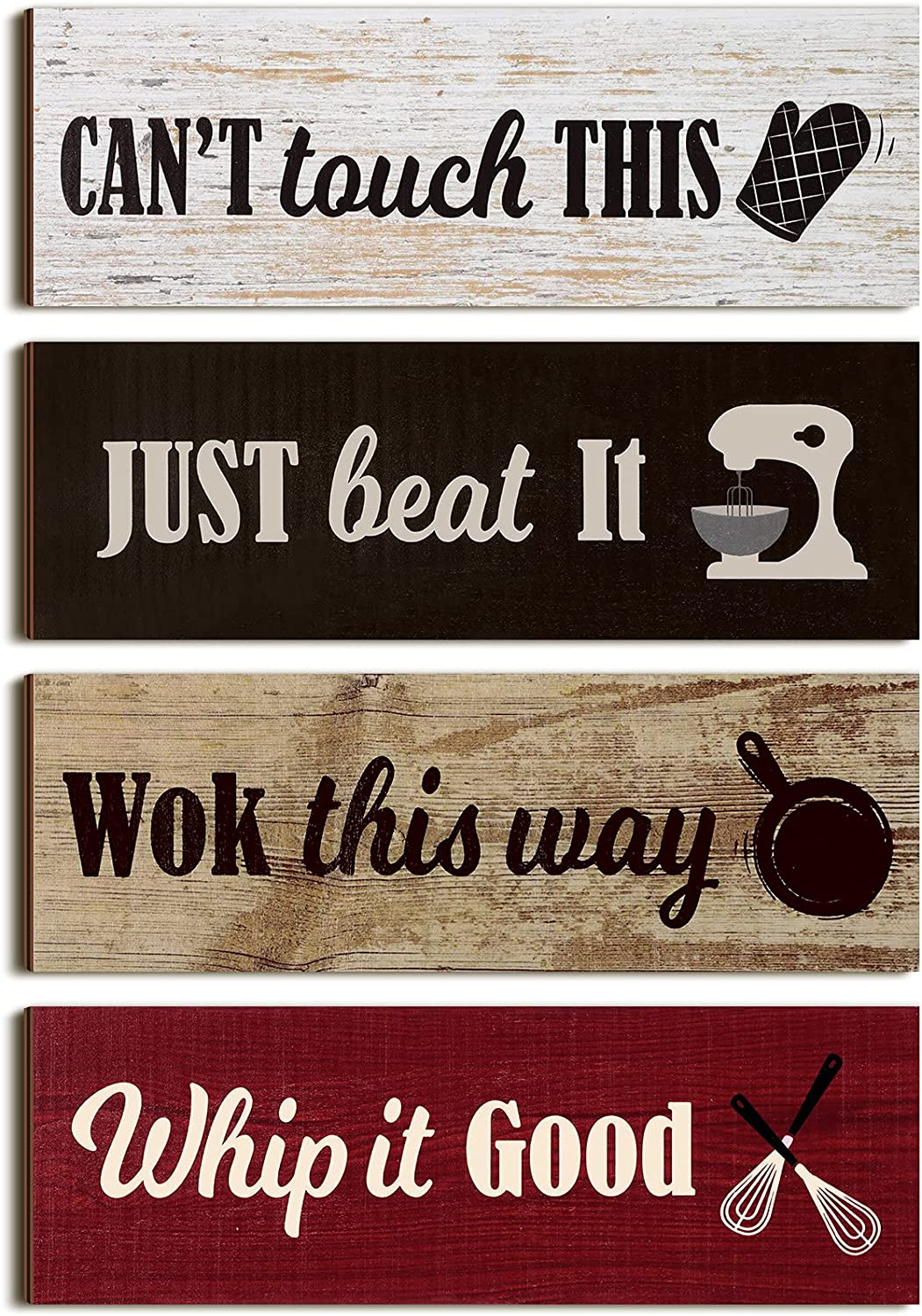4 Pieces Rustic Kitchen Sign Rustic Wood Wall Sign Kitchen Wall Signs Decor Red Black Brown and White Baking Prints Signs Family Sign Farmhouse Hanging Wooden Signs for Home Kitchen, 11.8 x 3.9 Inch