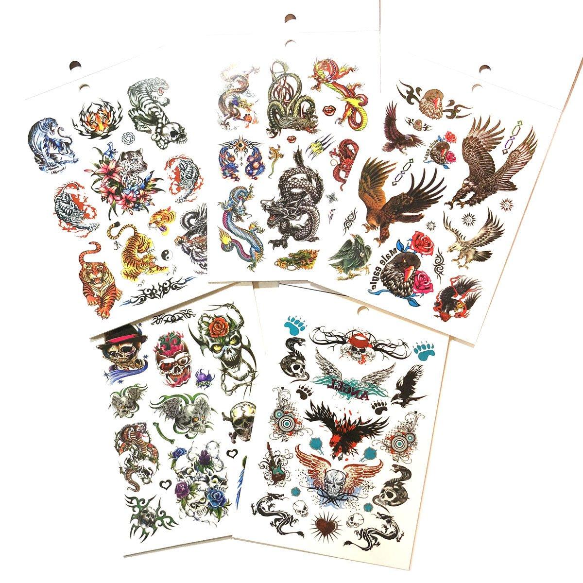 5 Packs Body Art Temporary Tattoo Book, Dragon Eagle Skull Animals Tattoos for Guys Halloween Tattoos for Guys
