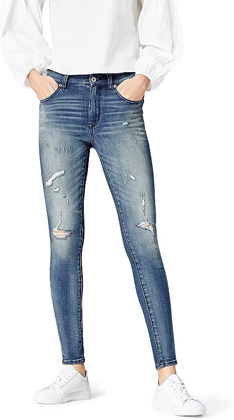 Amazon Marke: find. Damen Skinny Jeans mit mittlerem Bund und Rissen