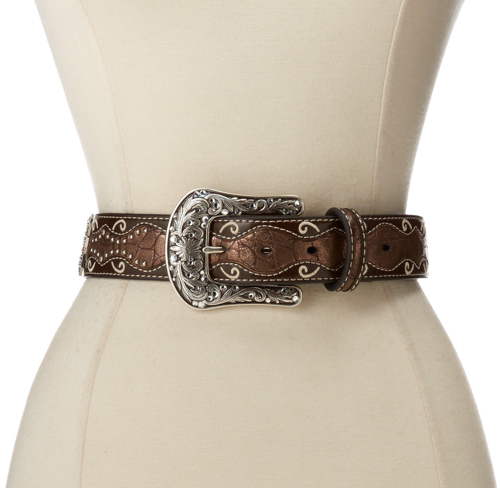 Ariat Women's Patent Inlay Crystal Cross Belt,Brown,L
