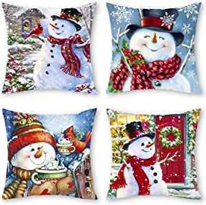 Blovec Christmas Snowman Throw Pillow Cover Set of 4 Merry Christmas Home Decor Cushion Cover Case 18 x 18 Inches for Couch Sofa Decor