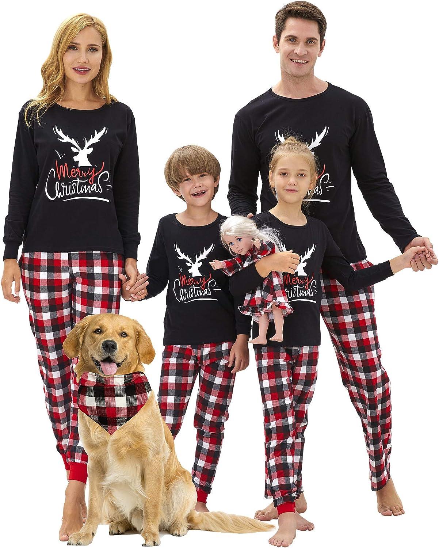 DOLDOA Family Matching Christmas Pajamas Set Red Plaid Merry Christmas Sleepwear 2Pcs Pjs Women Men Kids Baby Outfit Sleepwear