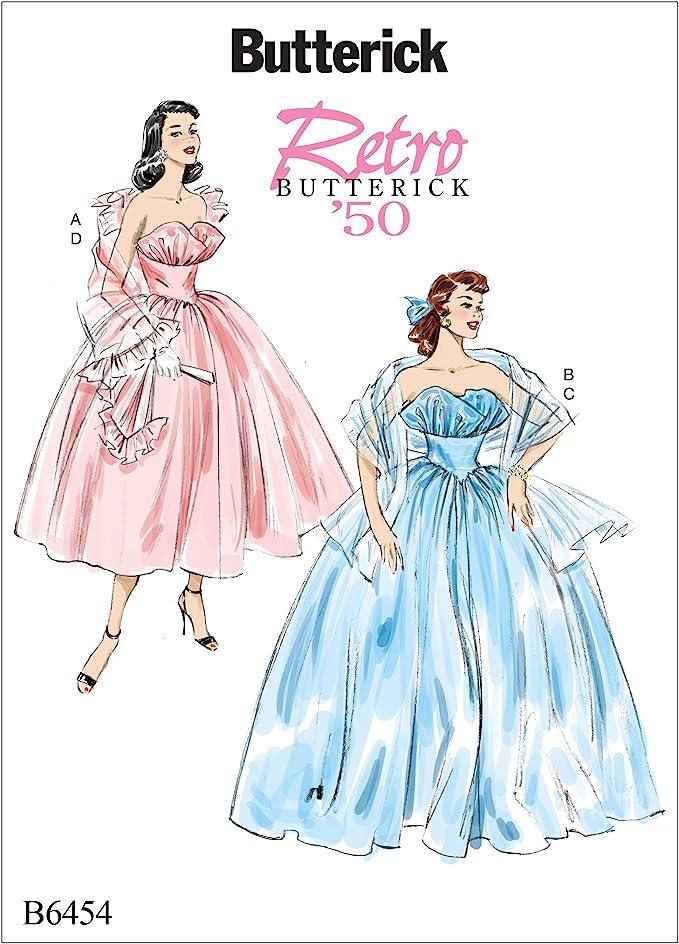 1950s Sewing Patterns | Dresses, Skirts, Tops, Mens Butterick Patterns Butterick Pattern 6454 A5Misses Dress and ShawlsSizes 6-14 Multicoloured £14.00 AT vintagedancer.com