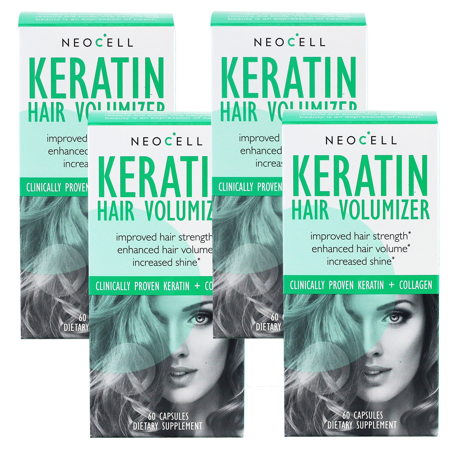NeoCell Corporation - Keratin Hair Volumizer, 60 tablets (Pack of 4)