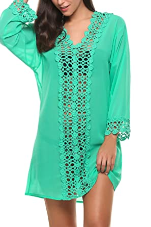 531a0ae72622c Avidlove Women's Sheer Deep V Chiffon Beachwear Cover Ups Bikini Blouse  (Green), Small