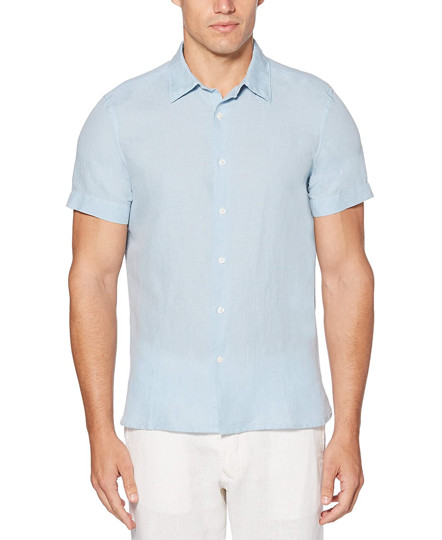 Perry Ellis Mens Short Sleeve Solid Linen Cotton Button-up Shirt