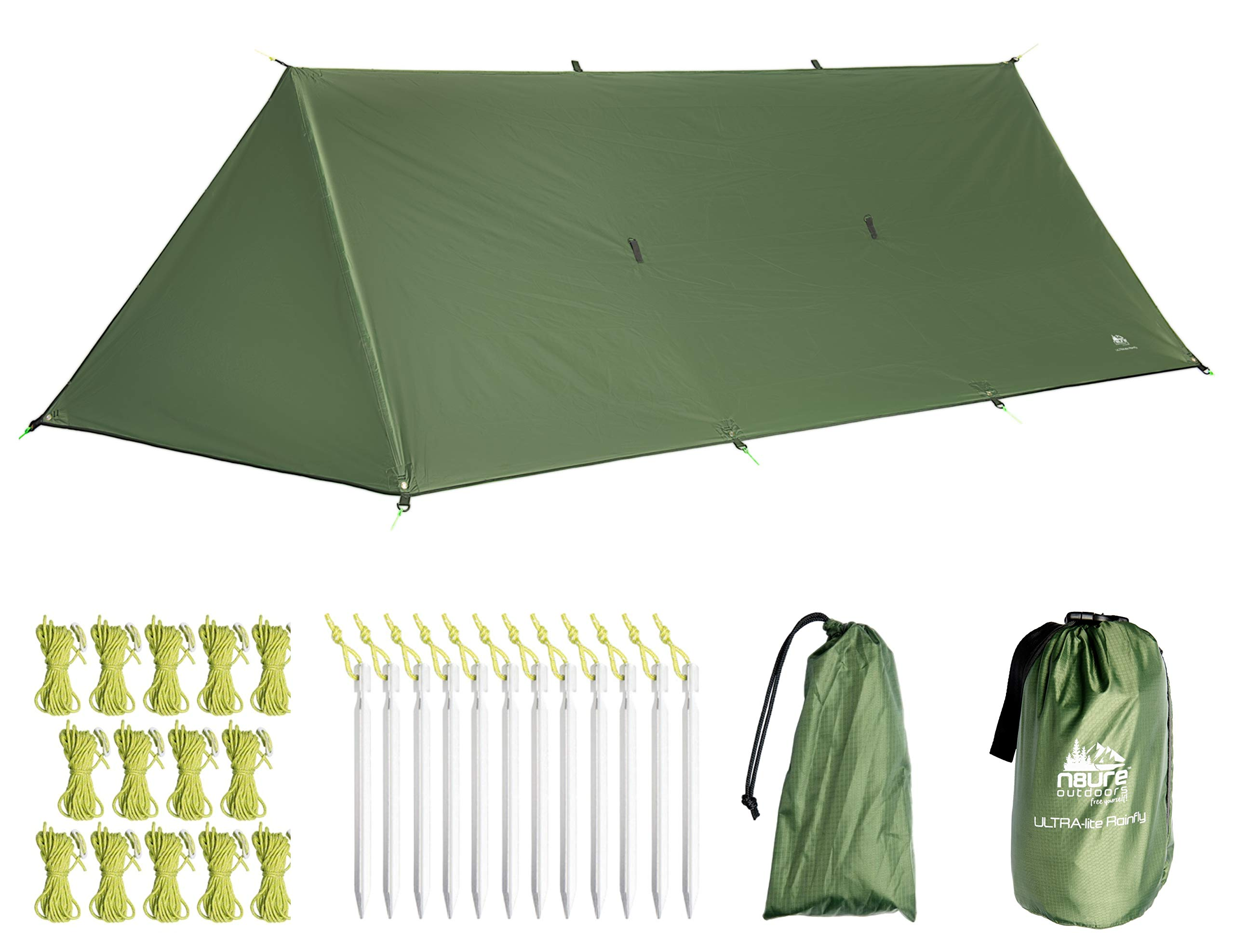 Camping Rain Fly Tarp 16'x10' with Doors Premium Ultralight Tent Ripstop Nylon Waterproof Hammock Sun Shelter 20x Tie-Outs Backpack Hike Travel Bushcraft Survival Gear Includes Stakes Ropes Stuff Sack