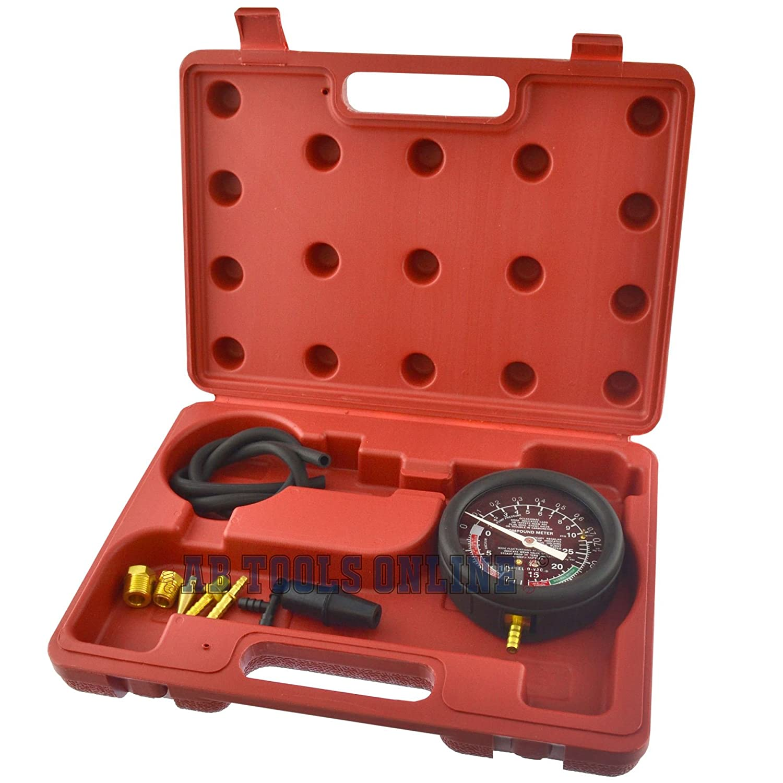 Vuoto di carburante e la pressione di pompa carburante manometro Tester Kit valvola carburatore AB Tools