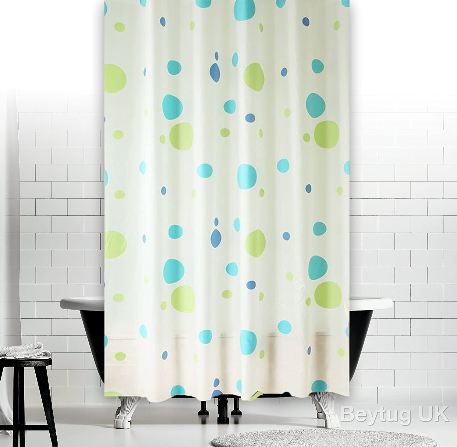 New Funky Bathroom Shower Curtain Extra Long with Rings 180 x 200 cm ...